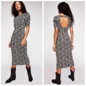Free People Rosie Knit Midi Dress Black Floral